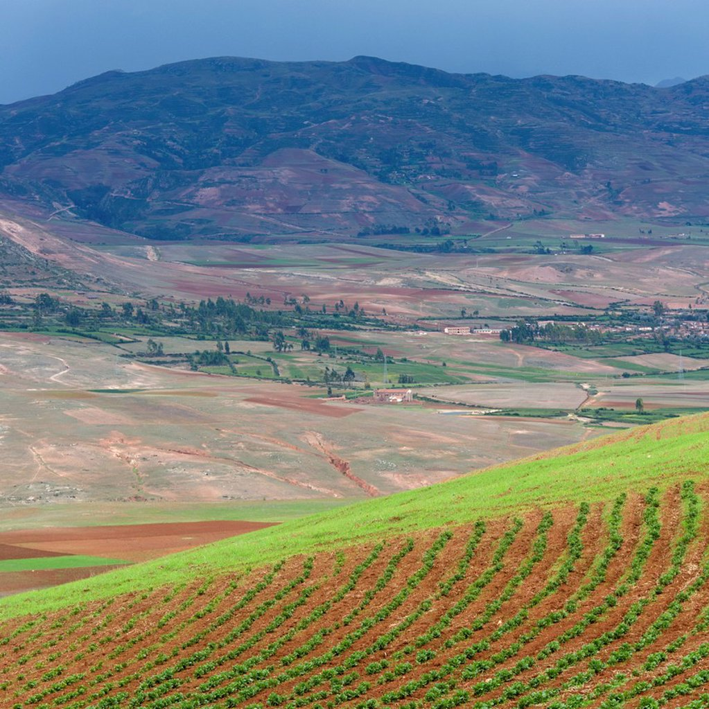 mountain and valley landscape, sacred valley peru : Stock Photo