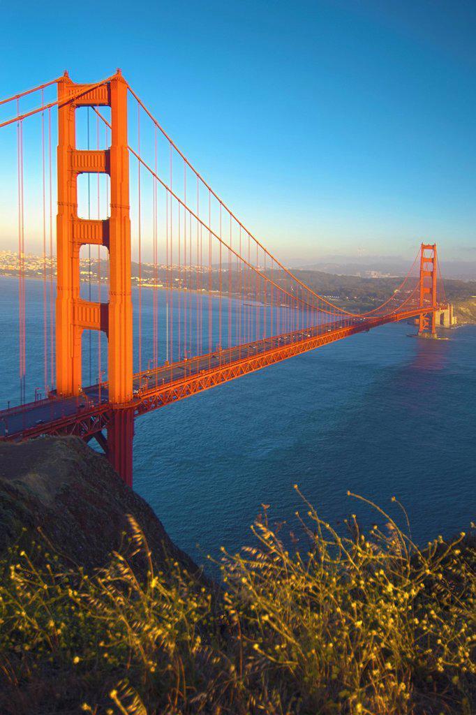 Stock Photo: 1889R-68318 golden gate bridge at sunset, san francisco california usa