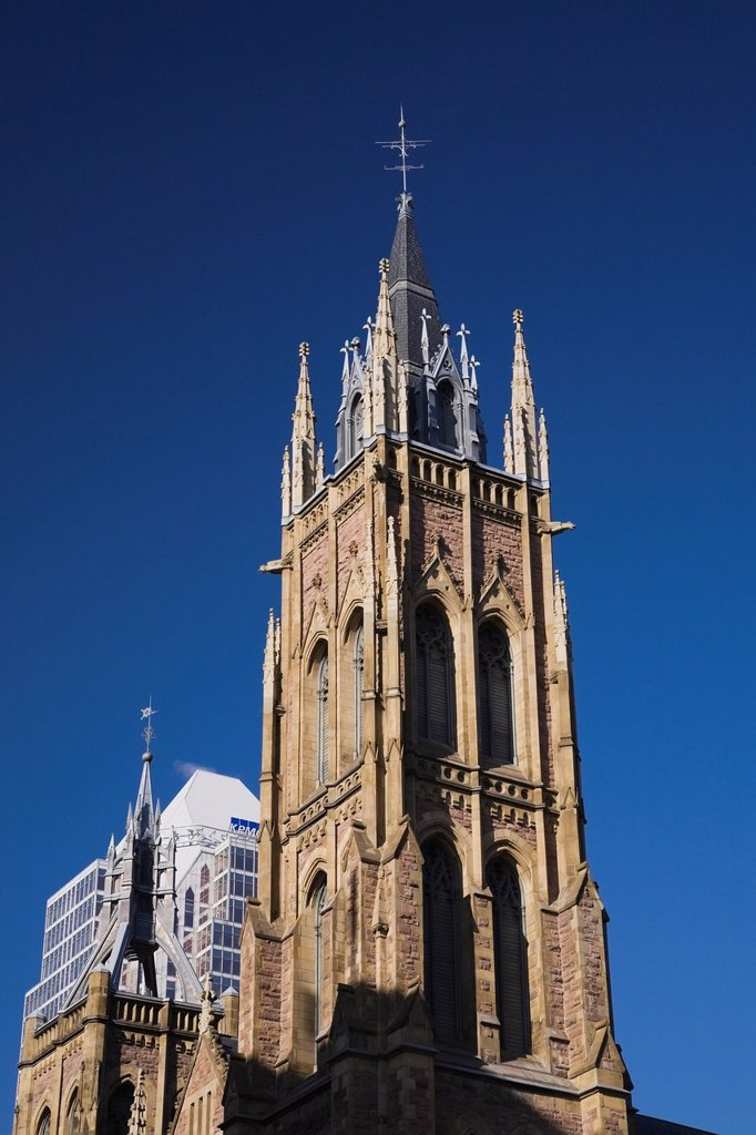 Stock Photo: 1889R-68336 saint james united church spire, montreal quebec canada