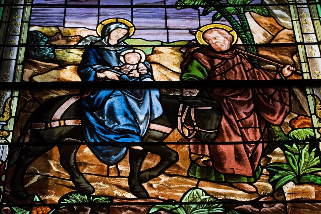 stained glass window with a religious scene in notre_dame_de_bonsecours chapel, old montreal quebec canada : Stock Photo