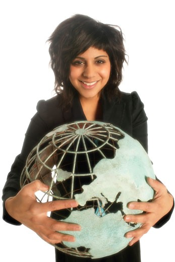 Stock Photo: 1889R-6834 Woman holding globe