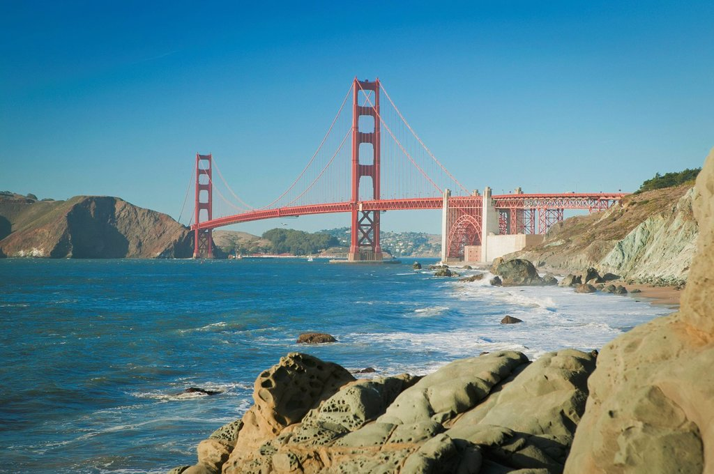 Stock Photo: 1889R-68498 golden gate bridge from baker beach, san francisco california united states of america