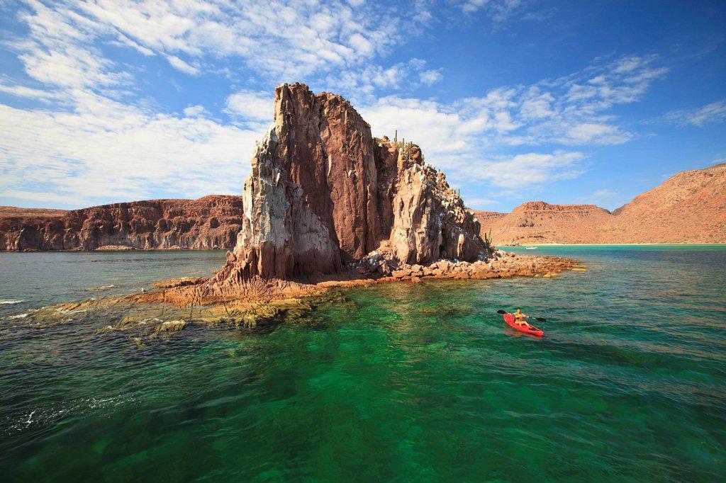 a tourist in a boat off the coast of espiritu santo island, la paz baja california mexico : Stock Photo