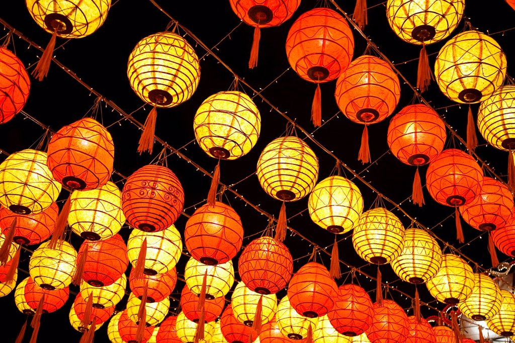 red and yellow chinese lanterns, chiang mai thailand : Stock Photo
