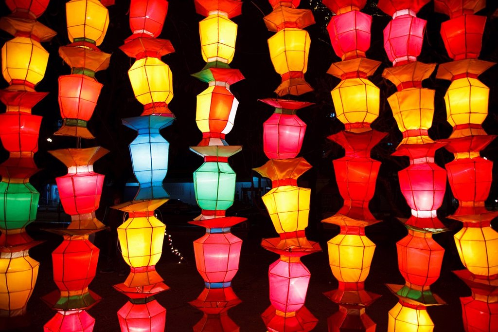 brightly colored chinese lanterns, chiang mai thailand : Stock Photo
