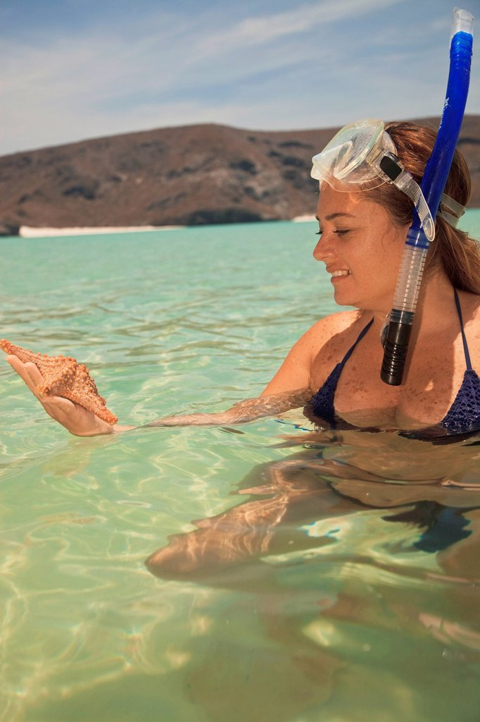 a young woman holding a starfish in her hand with snorkeling gear in the ocean at los islotes national marine park espiritu santo island, la paz baja california mexico : Stock Photo