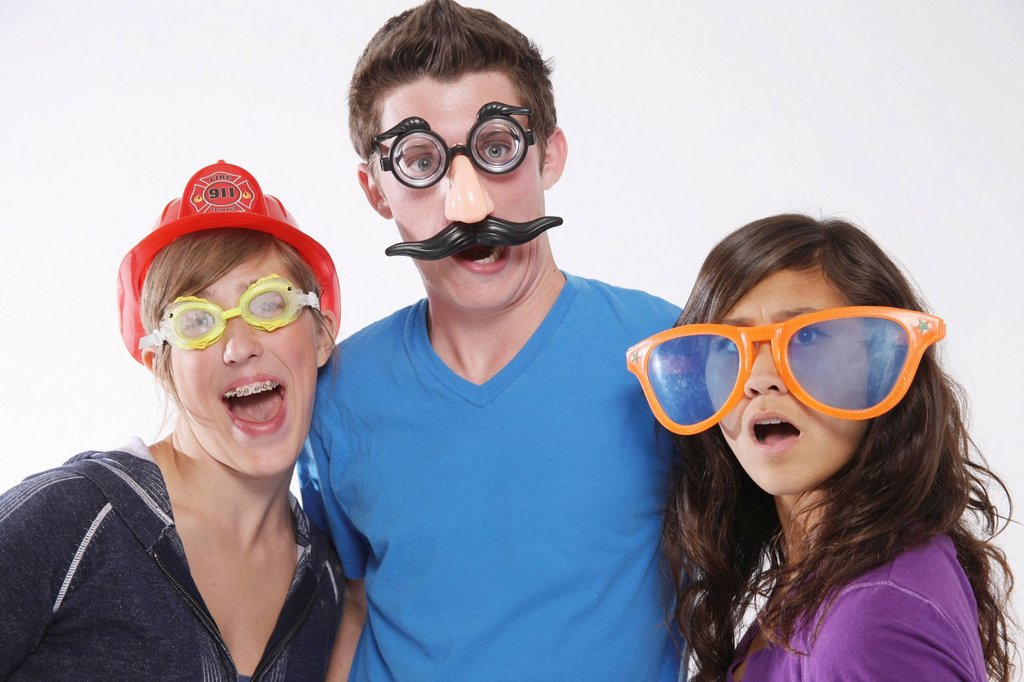 Stock Photo: 1889R-69025 teenagers wearing funny disguises, troutdale oregon united states of america