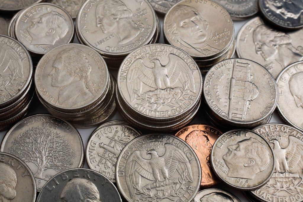assorted us coins : Stock Photo