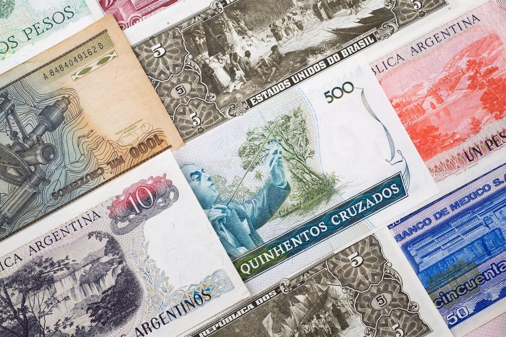 assorted foreign currency bank notes : Stock Photo