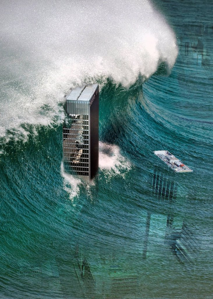 Stock Photo: 1889R-69722 Composite Of A Tidal Wave Sweeping Over Skyscrapers
