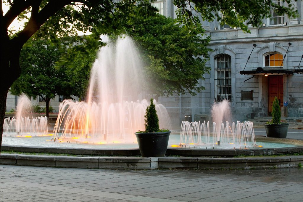 Stock Photo: 1889R-69775 Fountain At Place Vauquelin, Montreal Quebec Canada