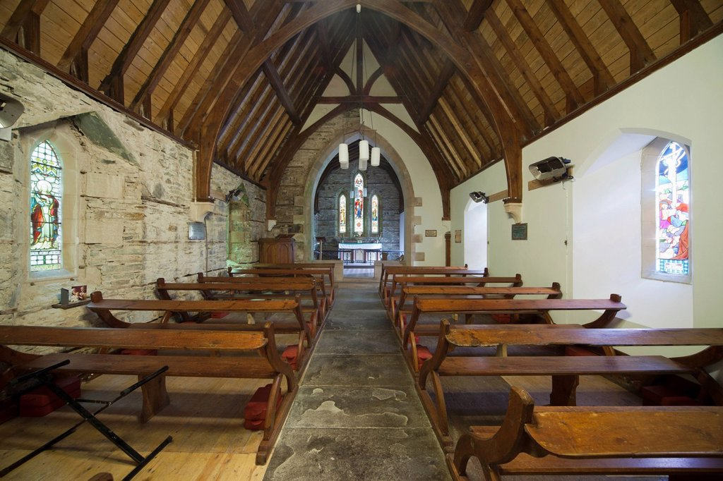 Stock Photo: 1889R-70089 wooden benches and stained glass windows inside a church, ardnamurchan argyl scotland