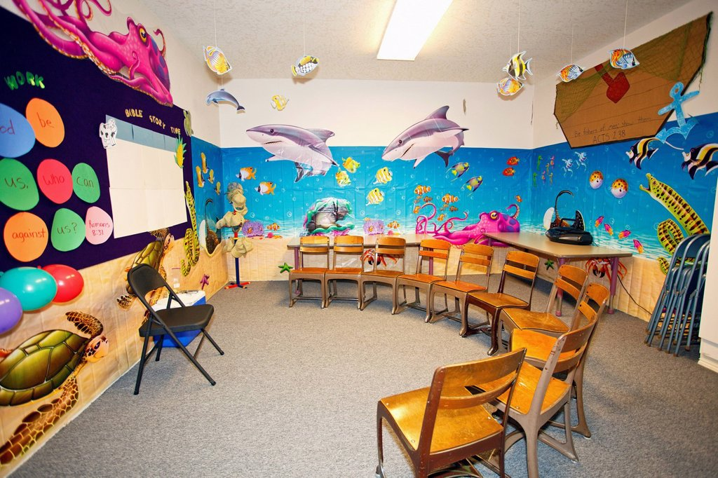 Stock Photo: 1889R-70867 a classroom with a marine life theme and chairs set up in a semi_circle, portland oregon united states of america