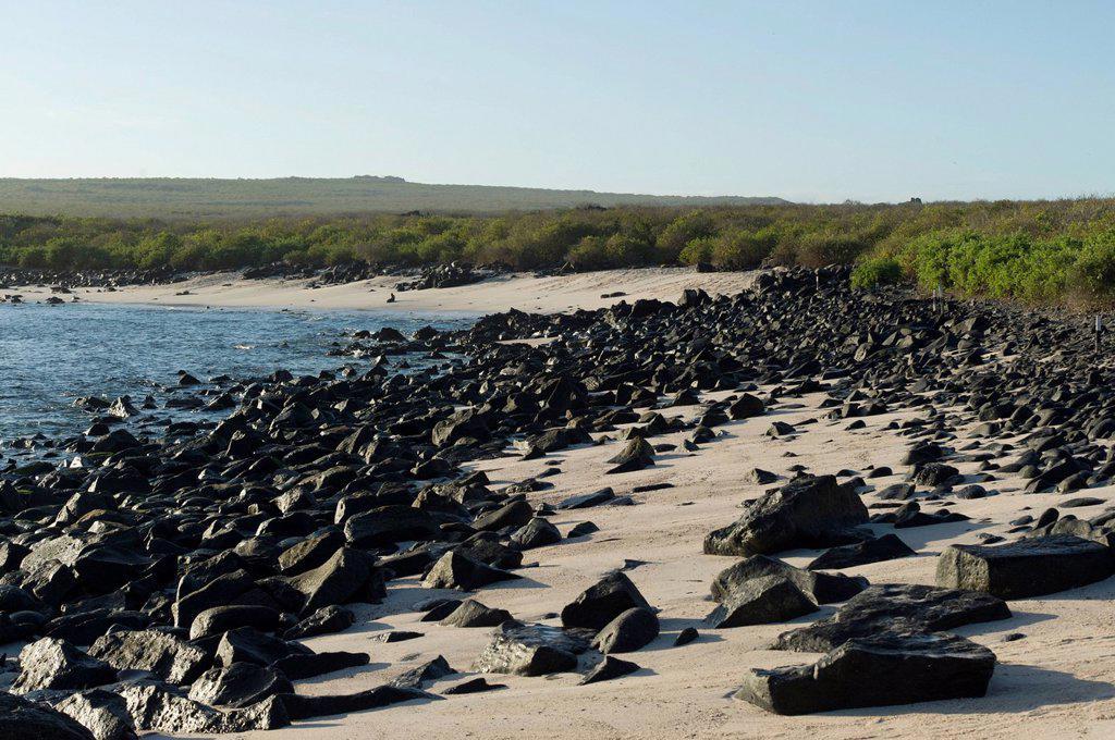 Stock Photo: 1889R-71718 rocks on the beach along the coast, galapagos, equador