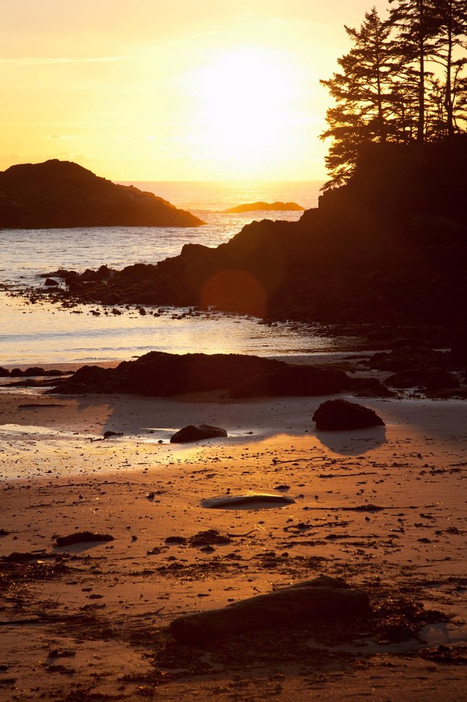 Stock Photo: 1889R-72468 ucluth beach at wya point at sunset near ucluelet on vancouver island, british columbia canada
