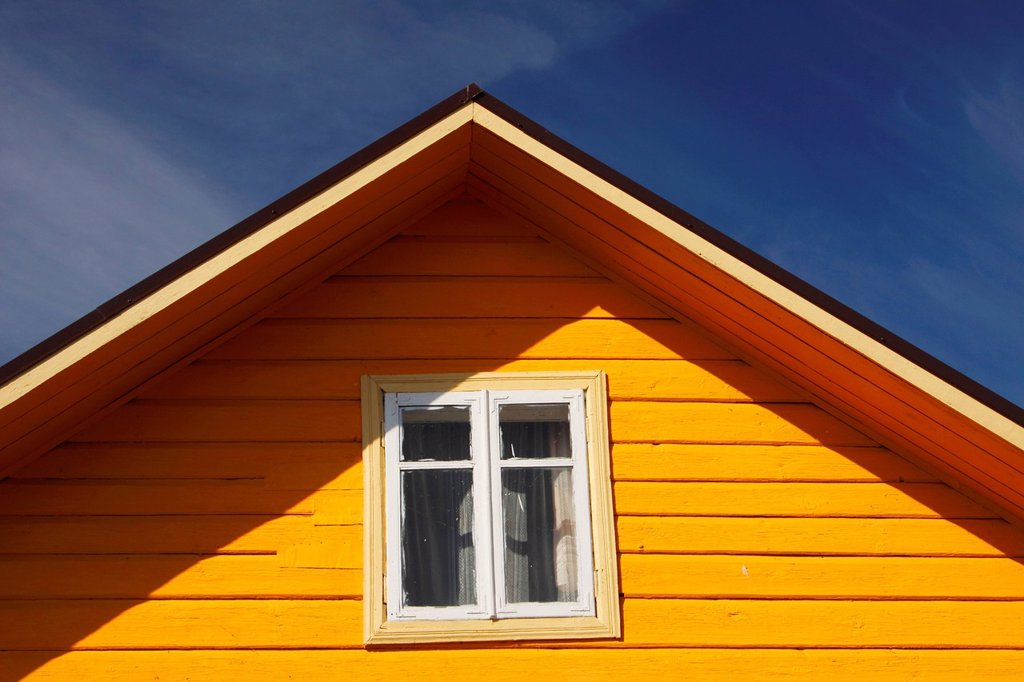 Yellow Timber House, Trakai Village Lithuania : Stock Photo