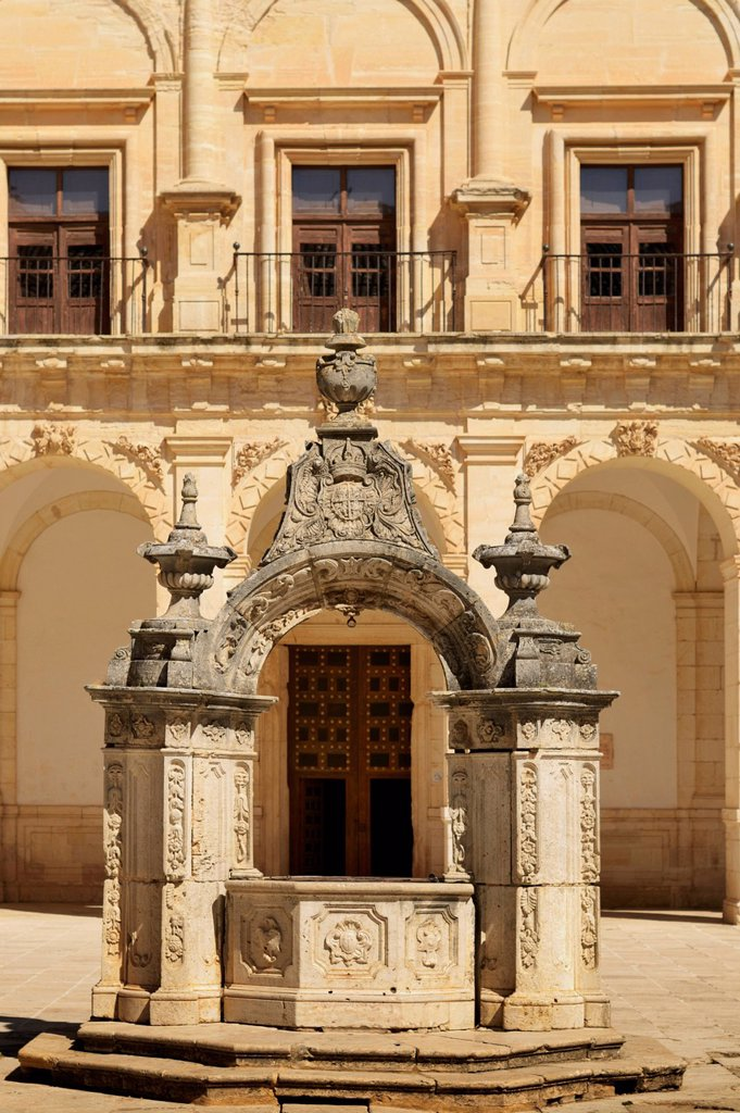 Stock Photo: 1889R-73266 Baroque Stone Well With Coat Of Arms Of St. James In Courtyard Of The Monastery Of Ucles, Cuenca Castile La Mancha Spain