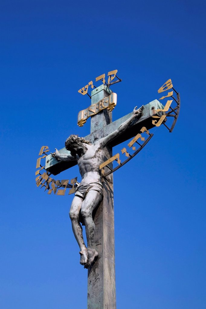 Statue Of Jesus On The Cross On Charles Bridge, Prague Czech Republic : Stock Photo
