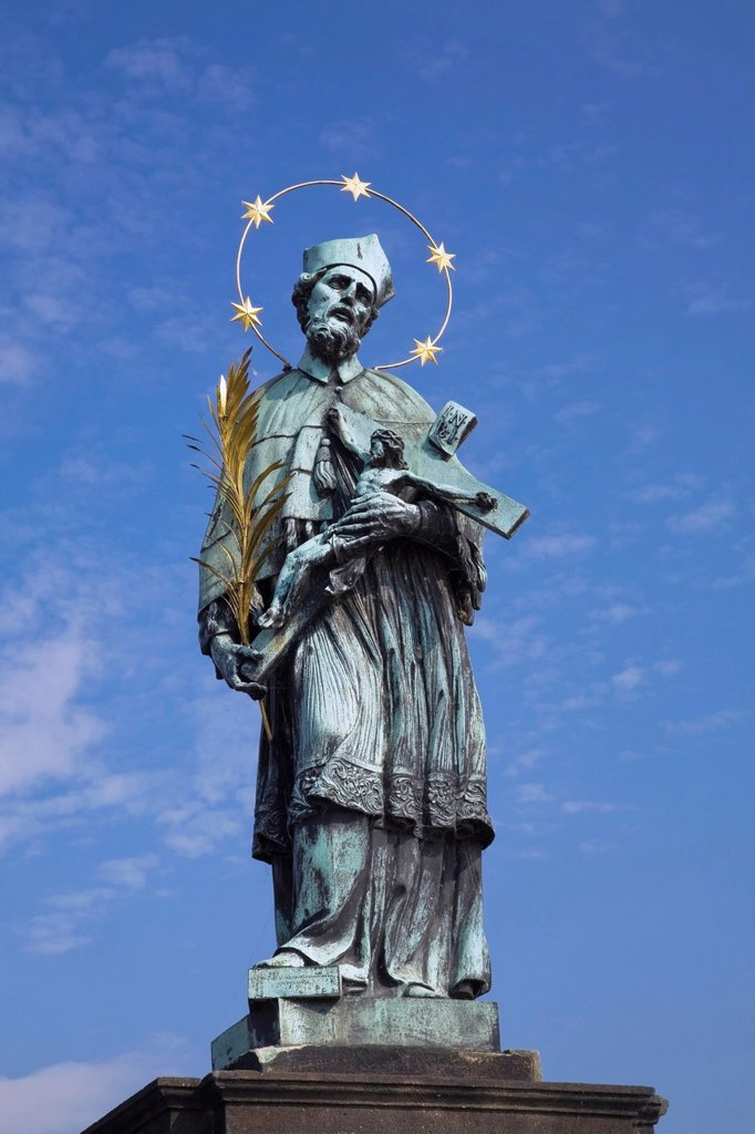 Stock Photo: 1889R-73329 Religious Statue On Charles Bridge, Prague Czech Republic