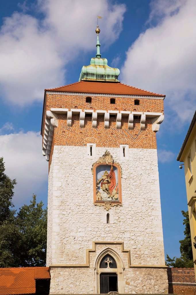 Stock Photo: 1889R-73479 Saint florian gate tower, cracow poland