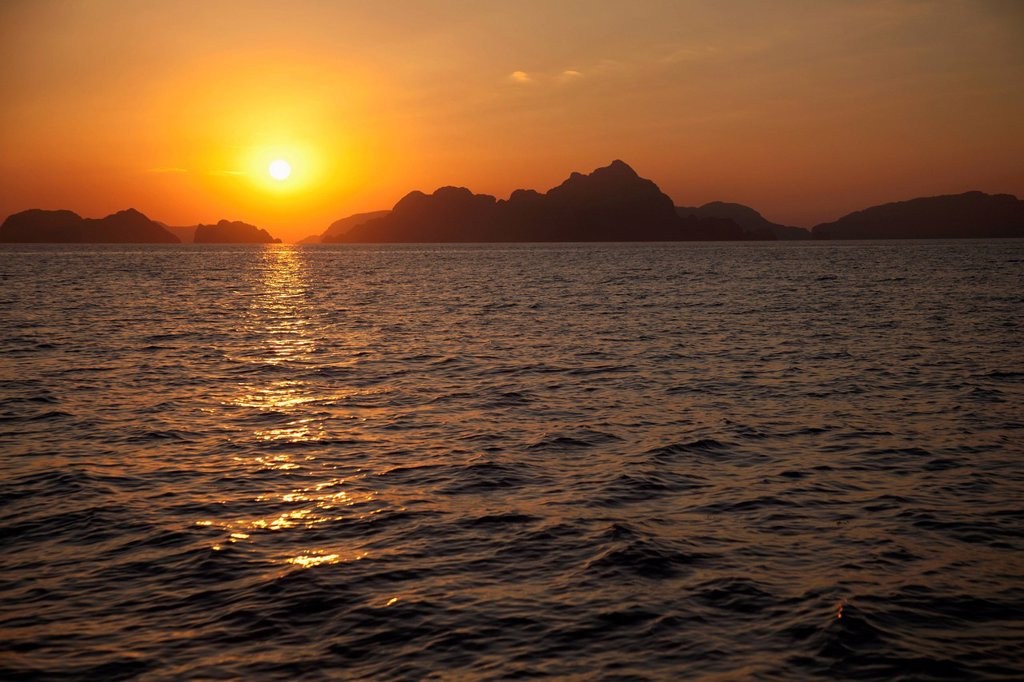 Stock Photo: 1889R-73629 Sunset Over The Mountainous Coast, Corong Corong Bacuit Archipelago Palawan Philippines