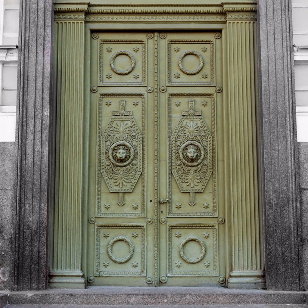 Stock Photo: 1889R-74001 Ornate design on green doors, st. petersburg russia