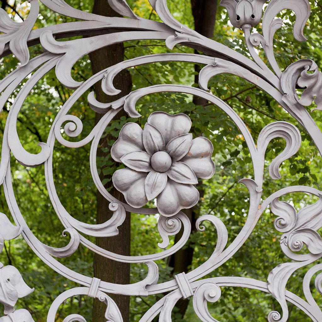 Stock Photo: 1889R-74002 Flower and swirl design on a metal gate of the cathedral of the resurrection of christ, st. petersburg russia