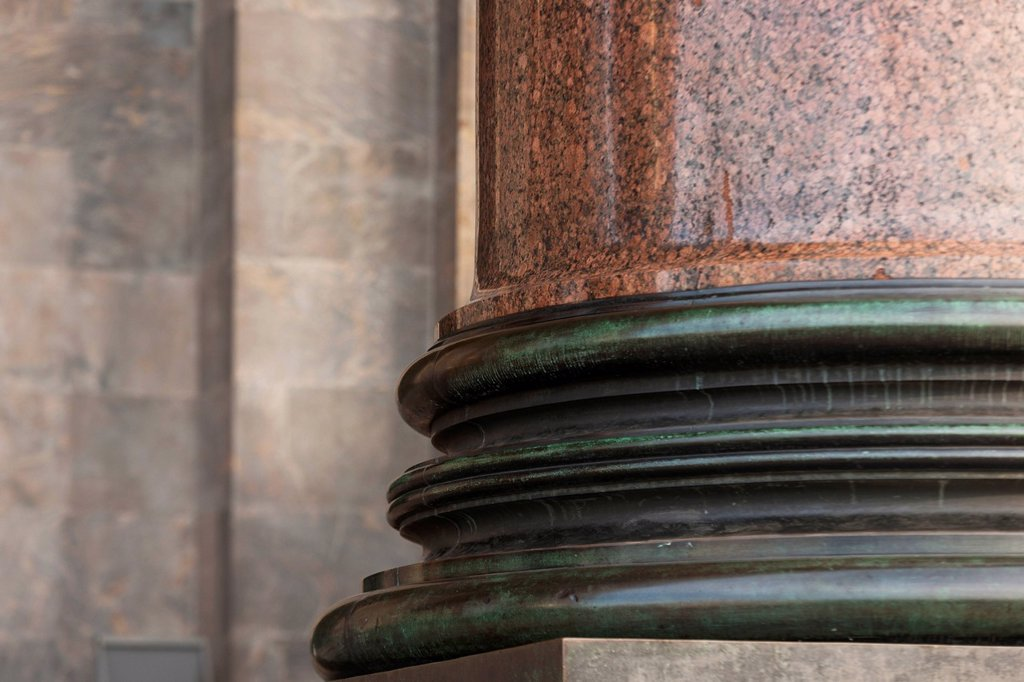 Stock Photo: 1889R-74011 Base of a column on saint isaac´s cathedral, st. petersburg russia