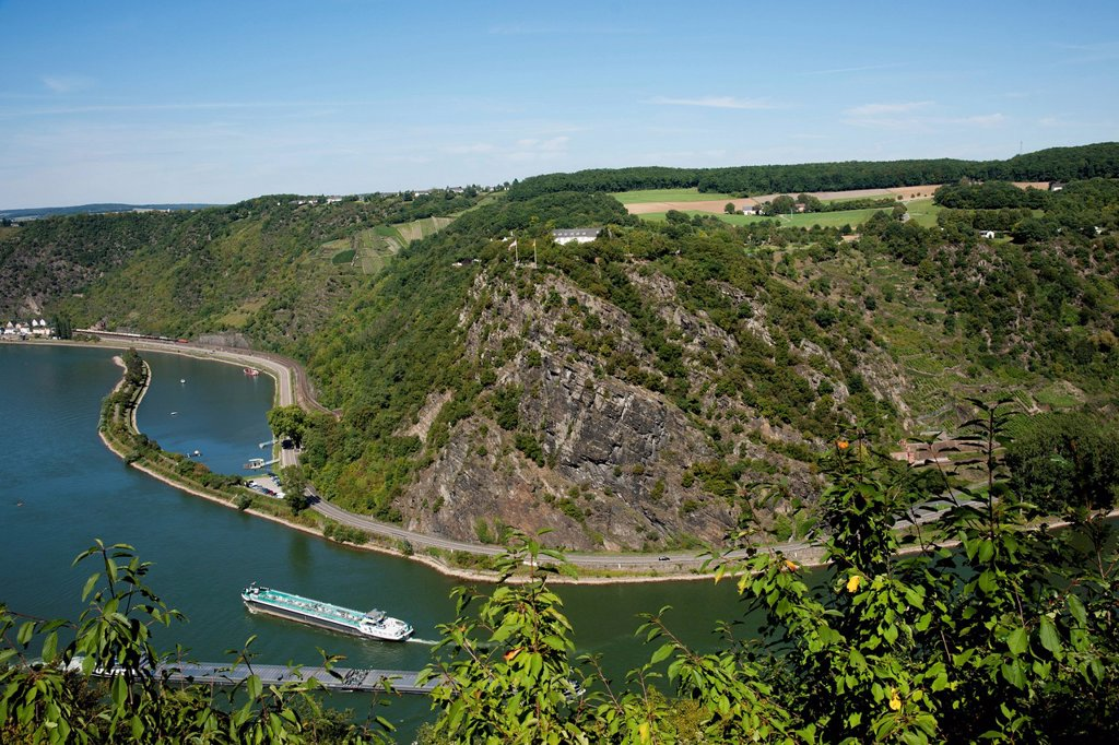 Stock Photo: 1889R-74212 View Showing The Lorelei On The Rhine River, Oberwesel Germany