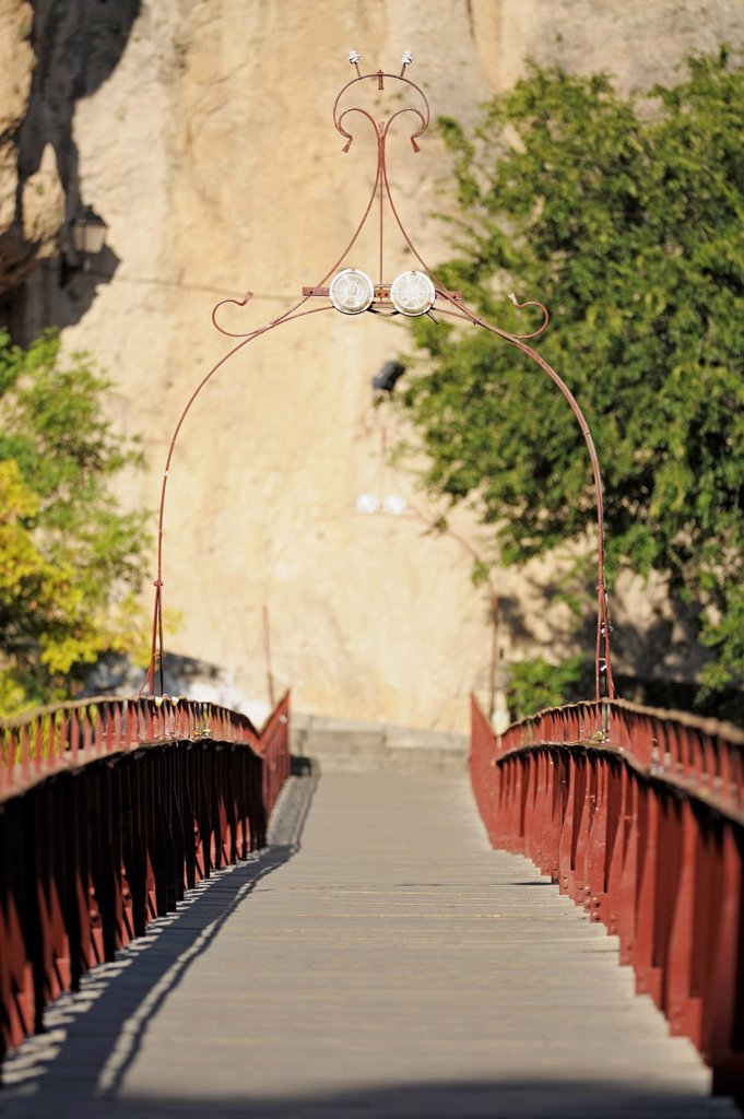 Puente De San Pablo Over The River Huecar Gorge, Cuenca Castile La Mancha Spain : Stock Photo