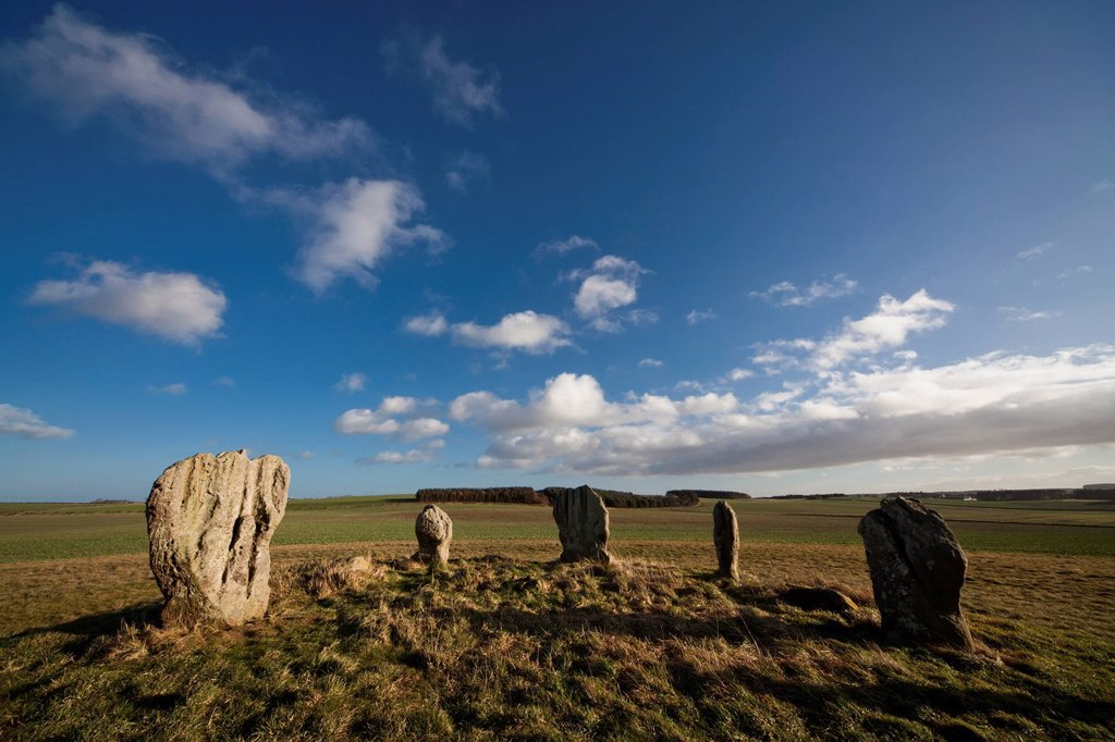 Standing stones of duddo, northumberland england : Stock Photo