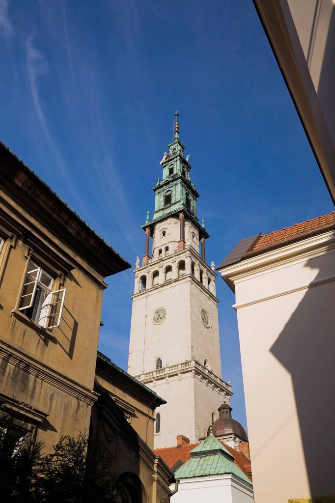 Stock Photo: 1889R-74531 Church bell tower and buildings at the jasna gora monastery, czestochowa poland