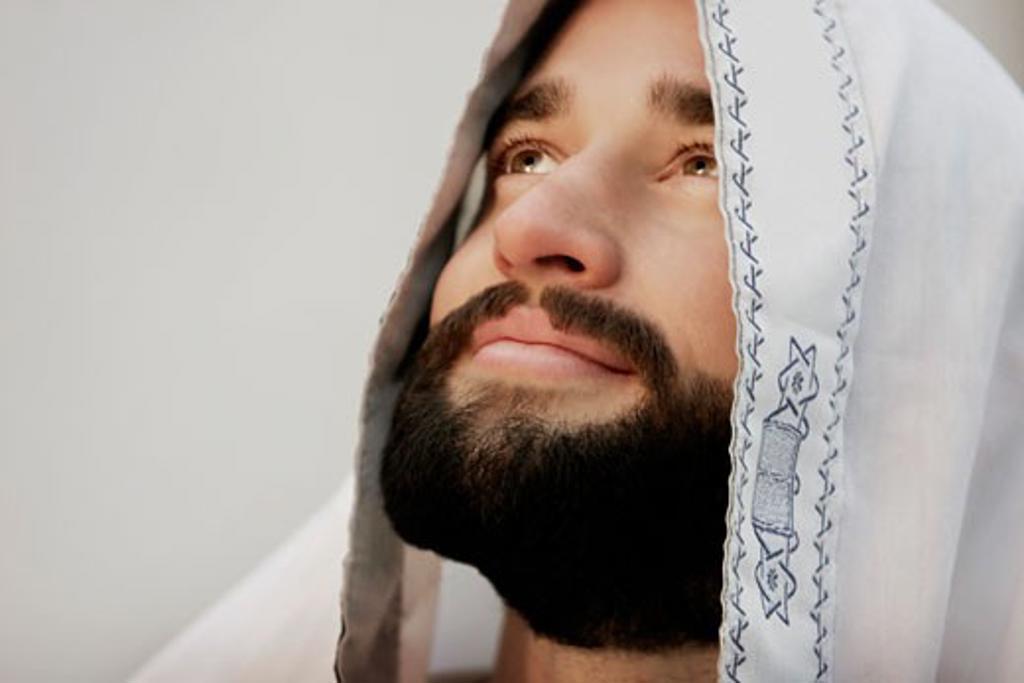 Stock Photo: 1889R-7679 Jewish man wearing a prayer shawl