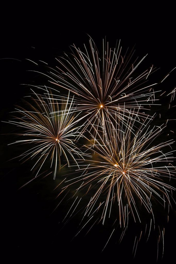 Fireworks In The Night Sky, Quebec Canada : Stock Photo
