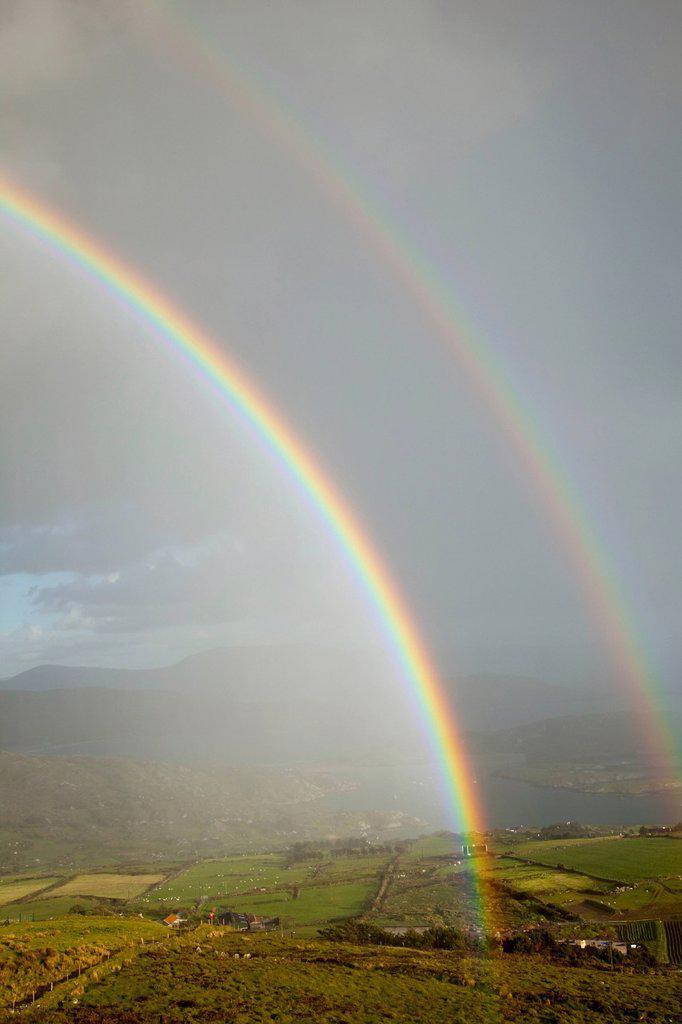 Stock Photo: 1889R-77378 Double Rainbow Over Farmland At Derrynane Harbour Near Caherdaniel, County Kerry Ireland