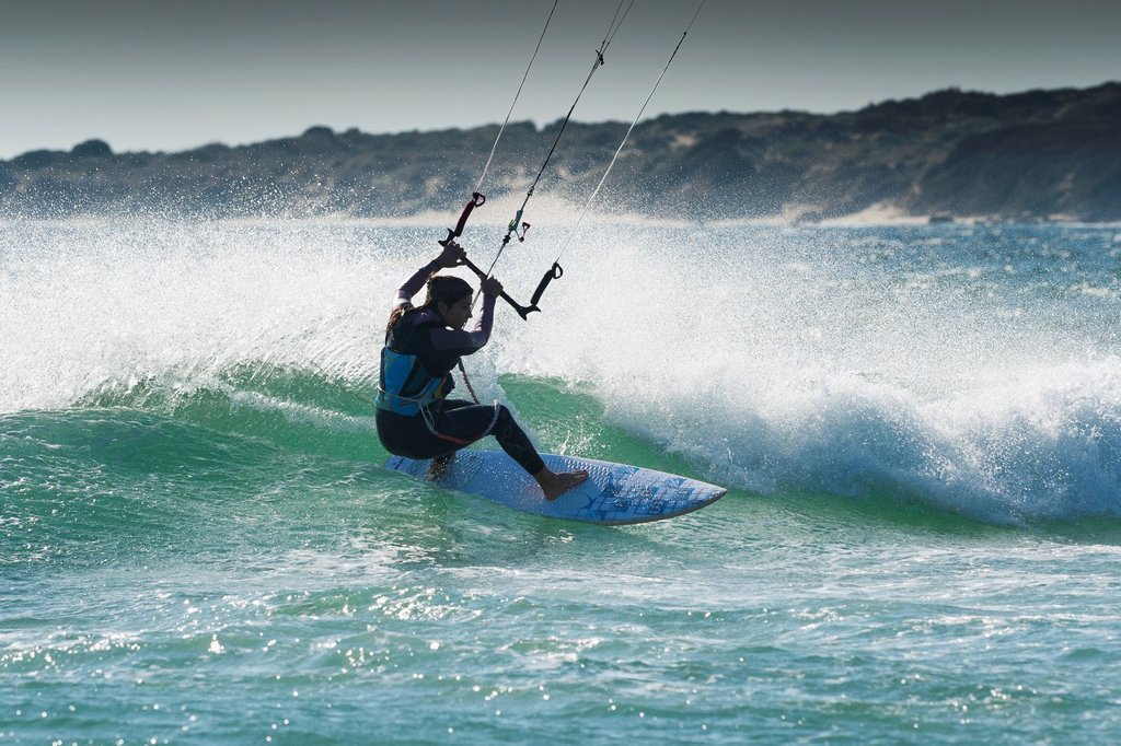 Stock Photo: 1889R-77507 Kitesurfing, tarifa cadiz andalusia spain