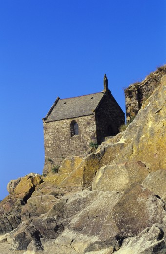 Stone Chapel on Cliff  Mont Saint Michel : Stock Photo