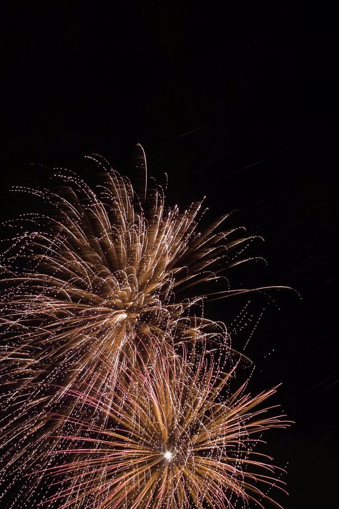 Stock Photo: 1889R-77696 Fireworks In The Night Sky, Quebec Canada
