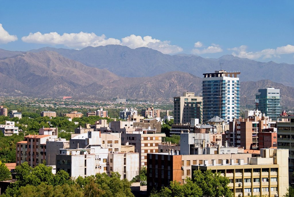 Stock Photo: 1889R-77704 Downtown mendoza from a rooftop, mendoza argentina