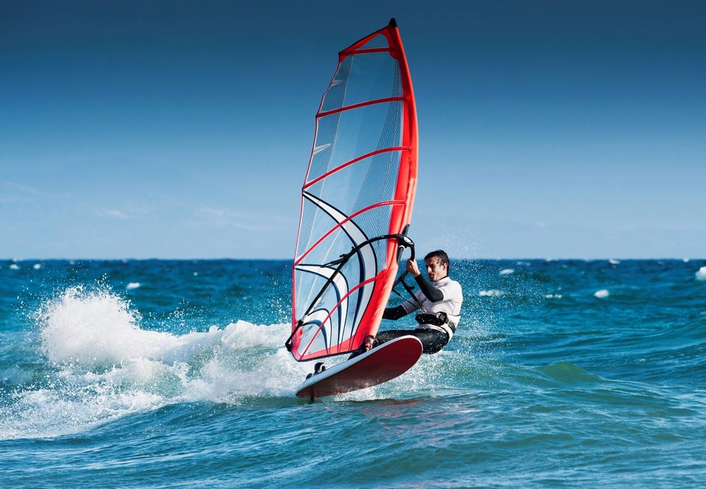 Stock Photo: 1889R-77849 Windsurfing Off The Coast At Hotel Dos Mares, Tarifa Cadiz Andalusia Spain