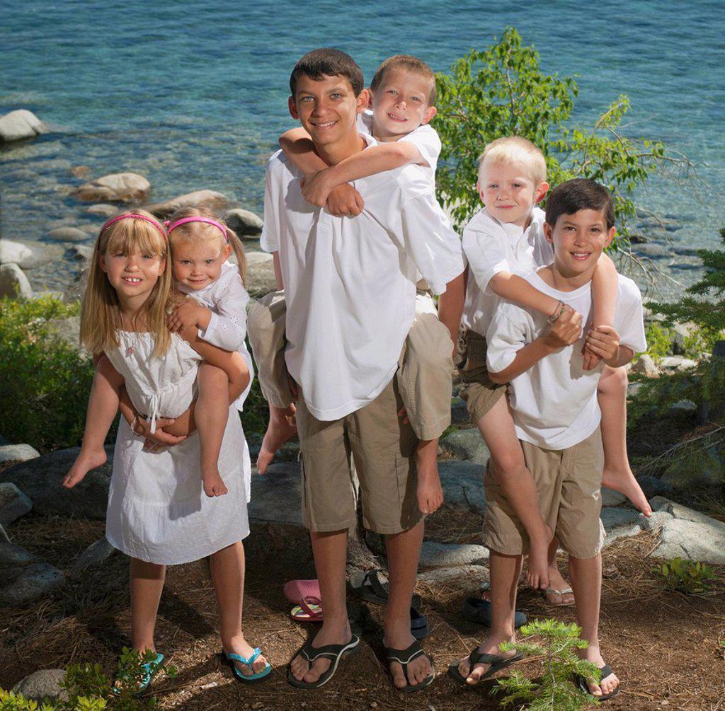 Portrait of six children, lake tahoe california united states of america : Stock Photo