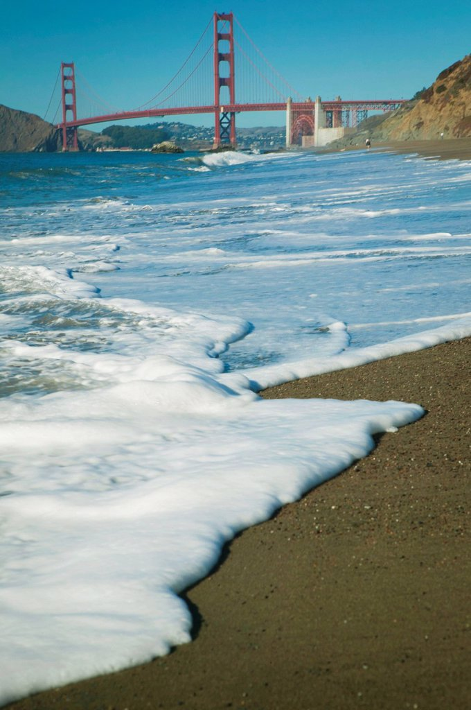 Stock Photo: 1889R-78246 golden gate bridge from baker beach, san francisco, california, united states of america