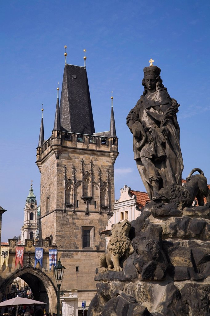 Stock Photo: 1889R-78461 Tower of saint nicholas church, lesser town prague czech republic
