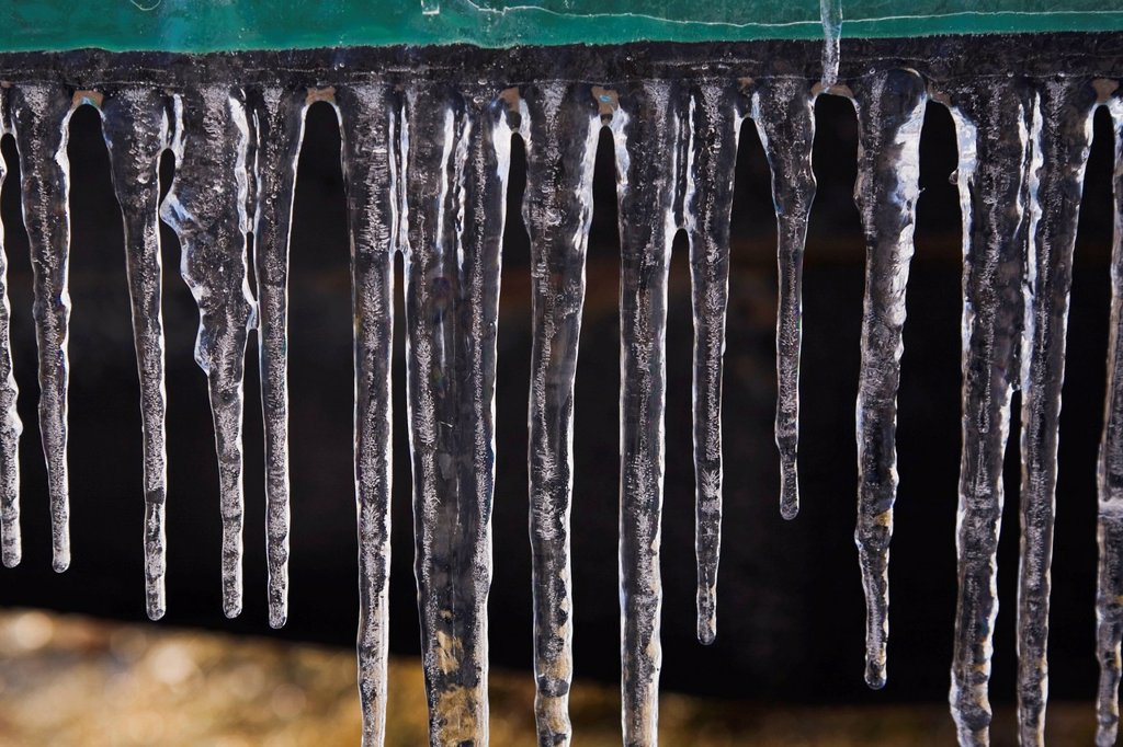 Stock Photo: 1889R-78468 Close_up of clinging icicles, ile des moulins old terrebonne lanaudiere quebec canada