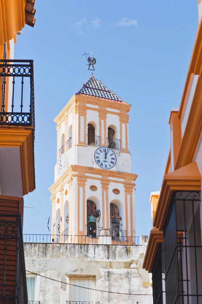 Stock Photo: 1889R-78484 Steeple Of Nuestra Senor De La Encarnacion Church, Marbella Malaga Province Costa Del Sol Spain