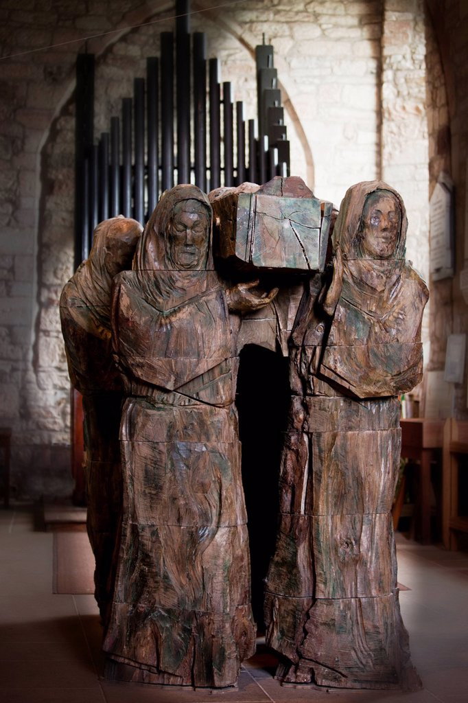 Stock Photo: 1889R-78712 Statue Of Mourners Carrying A Coffin, Lindisfarne Northumberland England