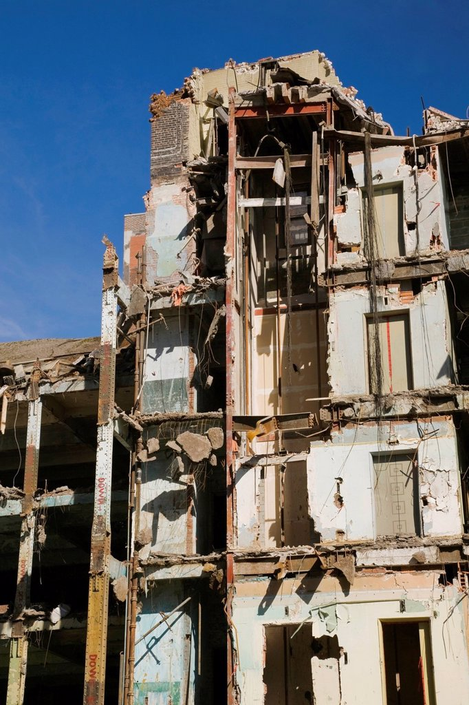 Old architectural style building undergoing demolition, montreal quebec canada : Stock Photo