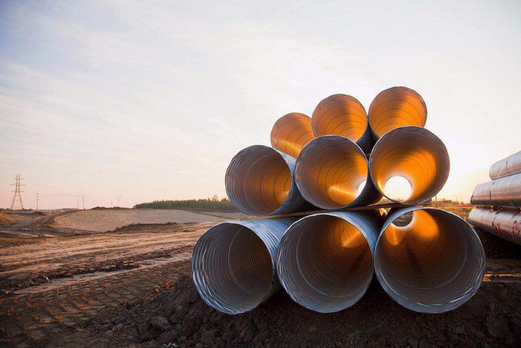 Stock Photo: 1889R-78915 culvert pipe used in road construction, edmonton, alberta, canada