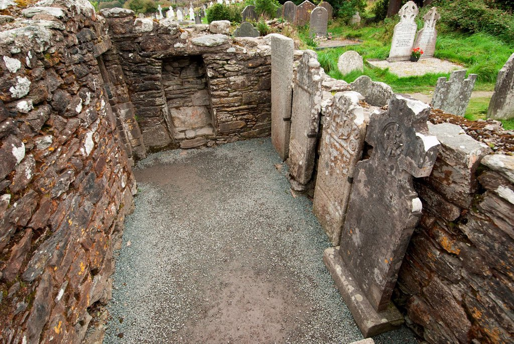 Old Tombstones Inside The Ruins Of A Building, Ireland : Stock Photo