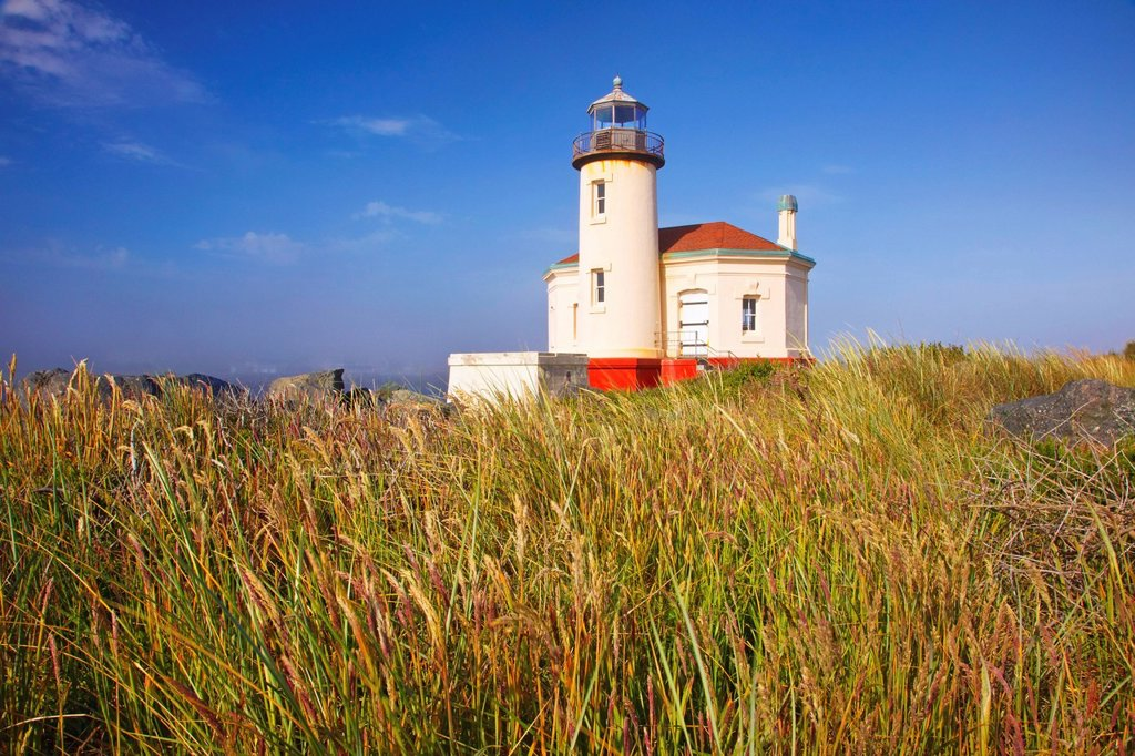 Stock Photo: 1889R-79073 Morning Light Adds Beauty To Coquille River Lighthouse, Bandon Oregon United States Of America